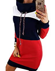 Las Mujeres Vestido Colorblock High Neck Pullover Sweater Sudadera