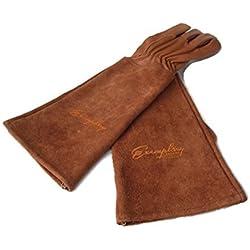Rosen Gartenhandschuhe für Damen und Herren. Ziegenleder Gartenhandschuhe haben eine Lange Rindsleder Manschette zu Schützen für Ihre Arme, bis der Ellenbogen (Mittel, braun)