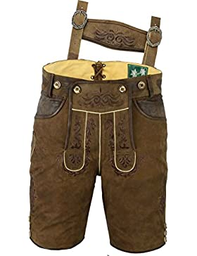 Lederhose mit Träger, echt Leder Trachten Lederhose Herren kurz, Damen Trachtenlederhose im Antik Nubuk Karamell