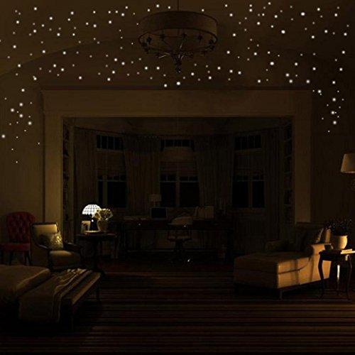 Bovake Glühen in den dunklen Stern-Wand-Aufkleber 407Pcs runder Punkt-leuchtendes Kind-Raum-Dekor(Colour L)