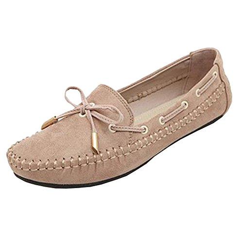 Classic Boat Shoe Damen Bootsschuhe Atmungsaktiv Schuhe Bogen Knoten Mädchen Aprikose 39