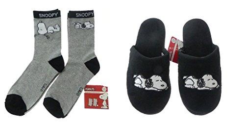 Set Hausschuhe & Socken Snoopy Damen weich Disney Peanuts schwarz warm Kinder Schlappen Slipper (Hausschuhe: 40-41 ; Socken: 39-42)