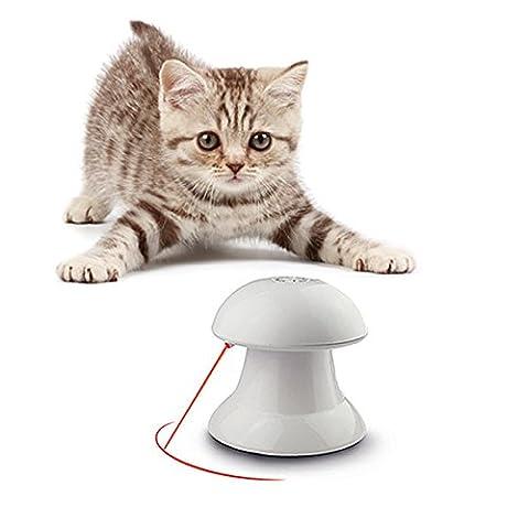 Haustier Katzen Interaktive Drehende Spielzeug Elektronisch Automatisch Entertainment-Übung Licht in 4 Modi (M, Weiß)