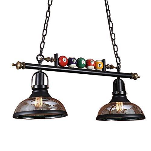 Vintage Billard Pendelleuchte 2 Lichter Industrie Glas Lampenschirm Dekoration Deckenleuchte für Esszimmer, Wohnzimmer, Billardraum, Bar, Café, E27 - Billard 2 Licht