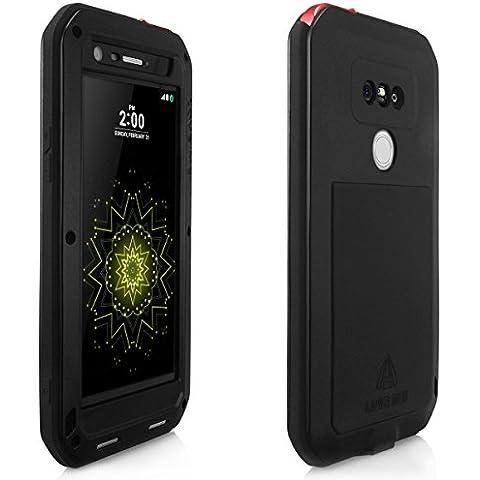 Alienwork Funda para LG G5 adecuada para la huella dactilar protectora bumper case prueba de choques Prueba de Polvo Anti-nieve Metal negro