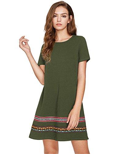Baumwollkleid Hundhals T-Shirt Kleid Grün S ()