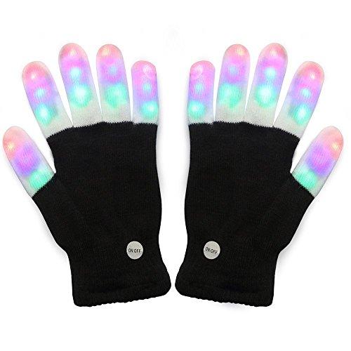 TKSTAR Guanto LED luminoso, con LED lampeggiante, 6 modalità, 3 colori, per...