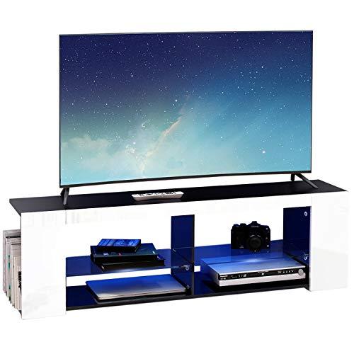 Modern Luxe ® Fernsehschrank TV Lowboard Fernsehtisch TV Regal Weiß Fronten in Hochglanz mit Led Beleuchtung (Weiß)