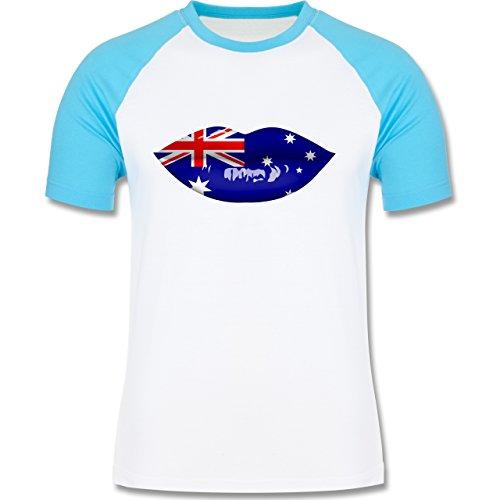 Länder - Lippen Bodypaint Australien - zweifarbiges Baseballshirt für Männer Weiß/Türkis