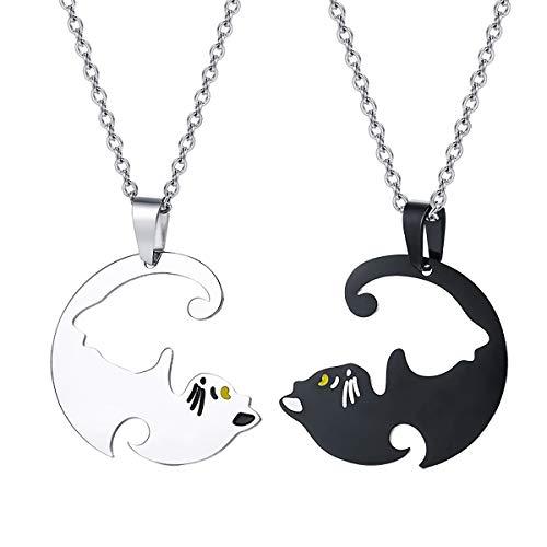 Housweety 2 Pcs Collier d'Amitié Forever Collier Best Friend Pendentif Coeur Briser Couple Puzzle Pandas pour Femme Fille