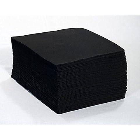 Toallas Desechables Color Negro & Toallas de Peluquería, Toallas de Tela Servilletas de Mano 40x80 cm.- 100% Bio-degradable - Perfectas para Pieles Sensibles - 200