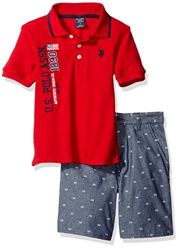 U.S. Polo Assn. Boys' Iconic Striped Pique Polo Shirt and Chambray Short, Plaid, 6 (Striped Boys Polo Pique)