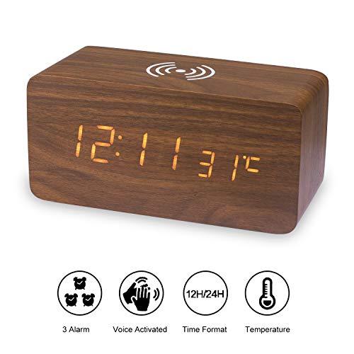 TechKen Digitaler LED Holz Wecker,Tisch Uhr Uhren Wecker Digitalwecker Tischuhr mit 3 Gruppen Alarm Einstellung Sprachmodus und Mobiltelefone Kabellose Ladestation