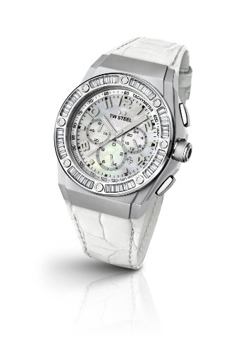 TW Steel - TWCE4015 - Montre Femme - Quartz Chronographe - Chronomètre - Bracelet Cuir Blanc