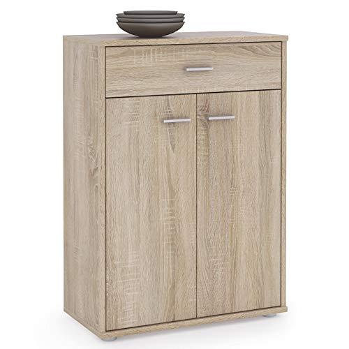 cd7a4faa10e256 IDIMEX Buffet Calais Commode tiroir Rangement mélaminé décor chêne Sonoma