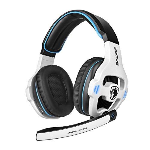GHB Sades SA-903 7.1 CH Stereo Gaming Headset USB Headset Bässe und Höhen Kopfhörer mit USB Stecker und Mikrofon Verkabelt 3m Kabel Weiss (Verpackung MEHRWEG)