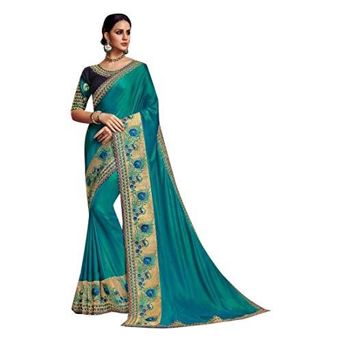 ETHNIC EMPORIUM Designer New Satin Silk Party Wear Saree Sari mit Bluse Stück traditionelle ethnische Kleidung Kleid für Frauen Trendy Indian Woman Indian 8158
