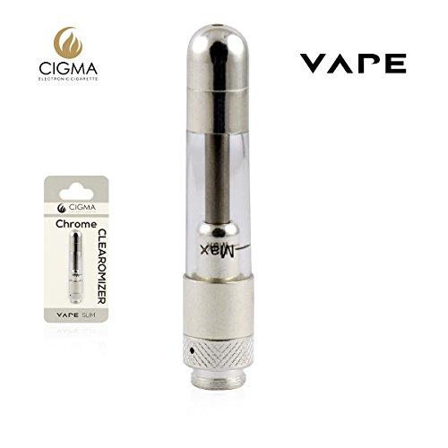 Cigma Vape Clearomizer für die Cigma Slim Battery E-Zigarette - Nachfüllbarer klarer Tank mit austauschbaren Spulen Nikotinfrei - Chrom