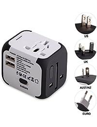 2 USB 3.0 Adattatore da viaggio(UE / USA / Regno Unito / AUS) Utilizzati in più di 150 paesi Caricabatterie con due fusibil (fusibile di ricambio)-Milool(176White)