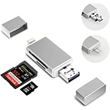 SD Card Reader Adapter, 3 in 1 with Lightning/Micro USB/USB Support IOS 9 ;Computer Memory Card Reader for iPhone/iPad/Mac/PC/OTG Android/Digital Cameras