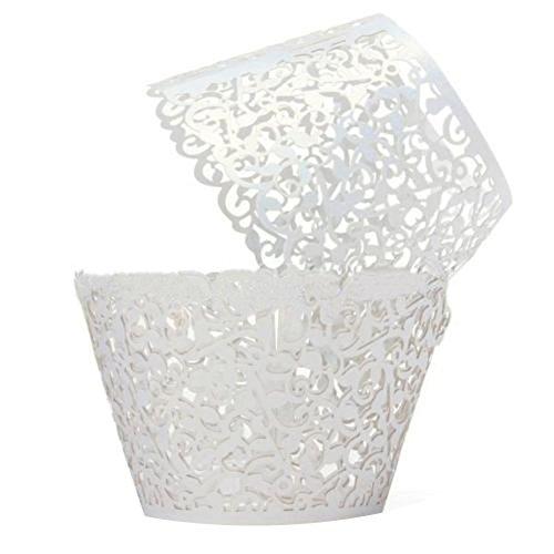 greenlans® Papier vigne dentelle Tasse à gâteau Cupcakes Gâteau Caissettes Cupcake Motif Tour Decor (12)