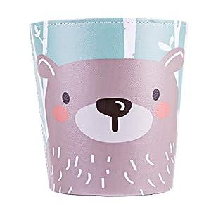 Batop Papierkorb Kinder, 10L PU Leder Wasserdicht Papierkorb Kinderzimmer Mülleimer mit Fuchs Motif Dekorativ Papierkorb…