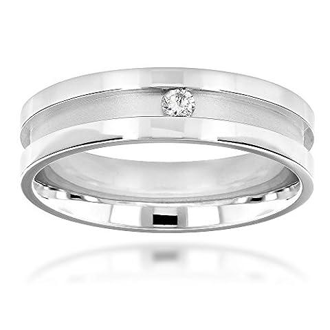 Luxurman Mens Natural Diamond Wedding Band 14k Engagement Ring Comfort Fit (White Gold Size 6)