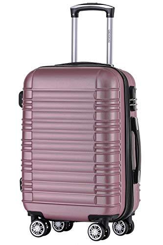 Zwillingsrollen 2088 Reisekoffer Koffer Trolleys Hartschale in XL-L-M in 14 Farben(Pink,L)