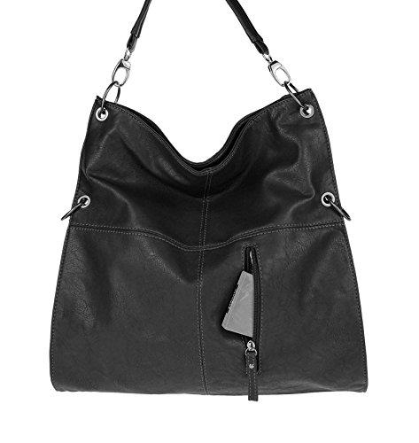 OBC Only-Beautiful-Couture, Borsa tote donna nero Schwarz (Antik Optik) 38x40x7 cm (BxHxT) Schwarz mit Nieten