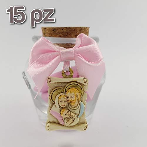 Sindy bomboniere 15 pz vasetto sacra famiglia per femminuccia con fiocchetto e pendente pergamena icona sacra