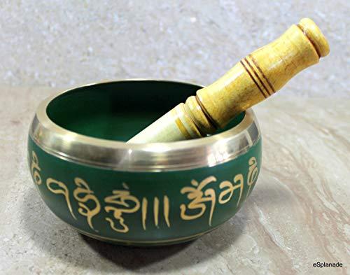 eSplanade Bol tibétain Instrument de prière tibétain bouddhiste avec bâton de gréviste (om bell) 5 pouces Vert