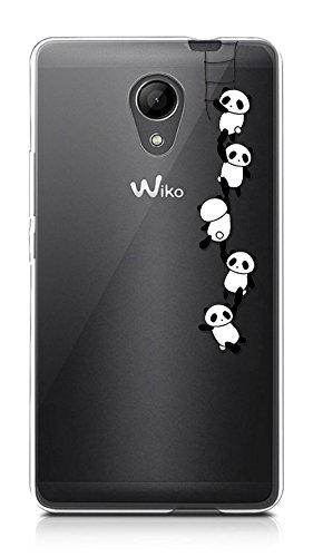 Sunrive Funda para Wiko Robby, Silicona Funda Slim Fit Gel Transparente Carcasa Case Bumper de Impactos y Anti-Arañazos Espalda Cover(TPU Panda) + 1 x Lápiz óptico