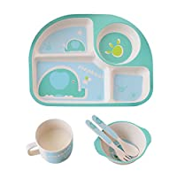 Per 5pcs Toddler Lovely Tableware Set Plate+Fork+Bowl+Cup+Spoon Bamboo Fiber Eco-Friendly Feeding Set For Kids Boys and Girls