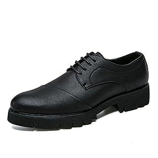 Jingkeke Herren Classic Business Oxfords Lässige Weiche PU Leder Runde Zehe Formelle Schuhe auffällig (Color : Schwarz, Größe : 43 EU)