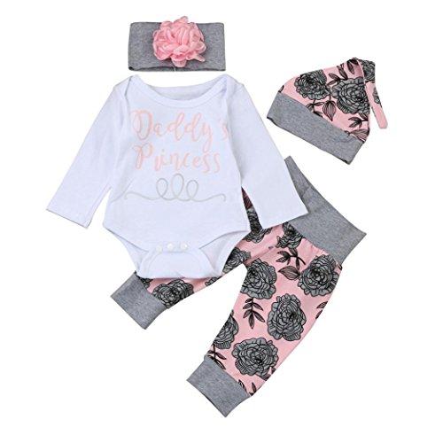 Babybekleidung,Resplend Neugeborenes Baby-Mädchen Junge Brief Strampler Tops + Floral Hosen + Hut + Stirnband Outfits Kleidung Set Mode Drucken 4 Stück Bekleidungssets Babyanzug (Weiß, 3M)