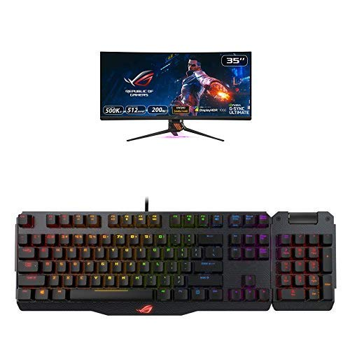 ASUS ROG SWIFT PG35VQ, 35'' UWQHD, 3440 x 1440, Gaming Monitor, up to 200Hz, G-SYNC Ultimate + ROG Claymore 100% Tastiera Gaming Meccanica RGB con Tastierino Numerico Incluso