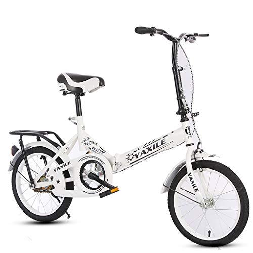 Bickd Kinder-Klapprad, ultraleichtes tragbares 16-Zoll-20-Zoll-Fahrrad für Grund- und Mittelschulkinder, stoßdämpfendes Mädchenfahrrad A ++ (Color : White, Size : 16 inches)
