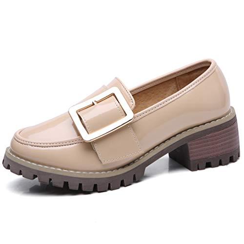 Zapatillas De TacóN con Borlas De Tacones De TacóN De Mujer BritáNica Slip-On Zapatos De Charol Shallow Square Med TalóN De Cuero CuñAs De Oficina Mocasines