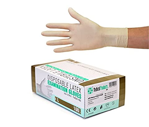 Latexhandschuhe 100 Stück Box (L, Weiß) Einweghandschuhe, Einmalhandschuhe, Untersuchungshandschuhe, Latex Handschuhe, puderfrei, unsteril, disposible gloves, white, Large