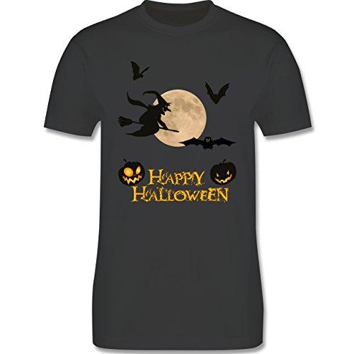 Halloween - Happy Halloween Mond Hexe - Herren Premium T-Shirt Dunkelgrau