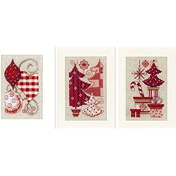 Vervaco Kit Point De Croix, Cartes Motifs de Noël, Pack De 3, Multi-Couleurs