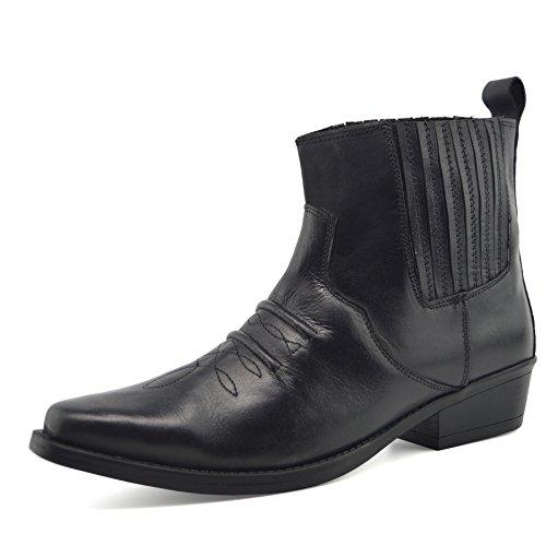 Herren Leder Cowboy-Pull-Western kubanische Ferse Smart Knöchel Stiefel EU40-47 - UK 10 / EU 44, Schwarz