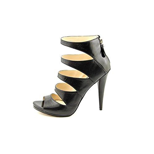 Nine West Amability, Riemchensandalen Frauen, Offener Zeh, leger, Leder Black Leather