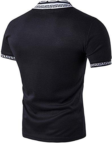 Whatlees Herren Basic kurzarm Poloshirts Hemd Shirts in verschiedene Farben B480-Black