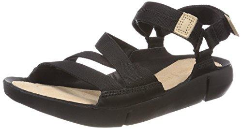 Clarks Damen Tri Sienna Slingback Sandalen, Schwarz (Black Combi), 41 - Keil Stoff Sandalen Schuhe Damen