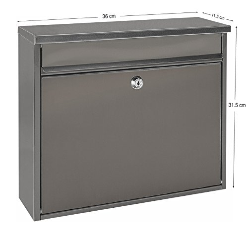 Image of Mari Home - Premium Extra Large Grey A4 Steel Letterbox Post Box Wall Mounted Outdoor Exterior Lockable XL Mail Box - 36 x 11.5 x 31.5 cm