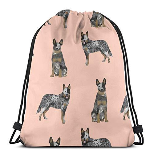 best gift Australian Cattle Dog Blue Coat for Cattle Dog Lover Pinkish_2698 Custom Drawstring Shoulder Bags Gym Bag Travel Backpack Lightweight Gym for Man Women 16.9