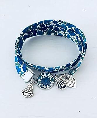 Bracelet Liberty, Bracelet à parfumer en tissu Liberty fleuri bleu, bracelet bouddhiste, bracelet bleu, bijou Liberty, bracelet fleur, bijou femme