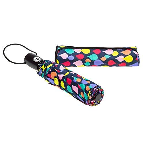 Paraguas Bolero plegable automático a prueba de viento, apertura y cierre con un botón, con listones de fibra de vidrio.