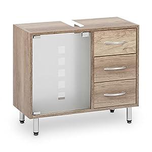Galdem – Mueble bajo lavabo, con 3 cajones, puerta de cristal, madera – armario para cuarto de baño